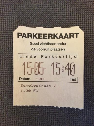 Gevonden in de auto, parkeerkaart van mijn opa uit 1998.